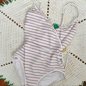 Marc Jacobs Rose Gold Stripe One Piece Swimsuit XS